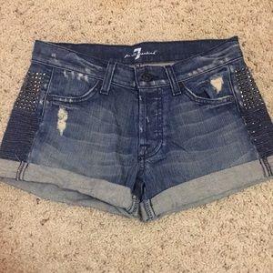 7 for all mankind stud denim shorts